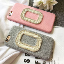 Luxury vintage fuzzy Velvet flannel Bling rhinestone phone case cover For iPhone 6,6S,6S,7,plus Protective case Para Fundas(China (Mainland))