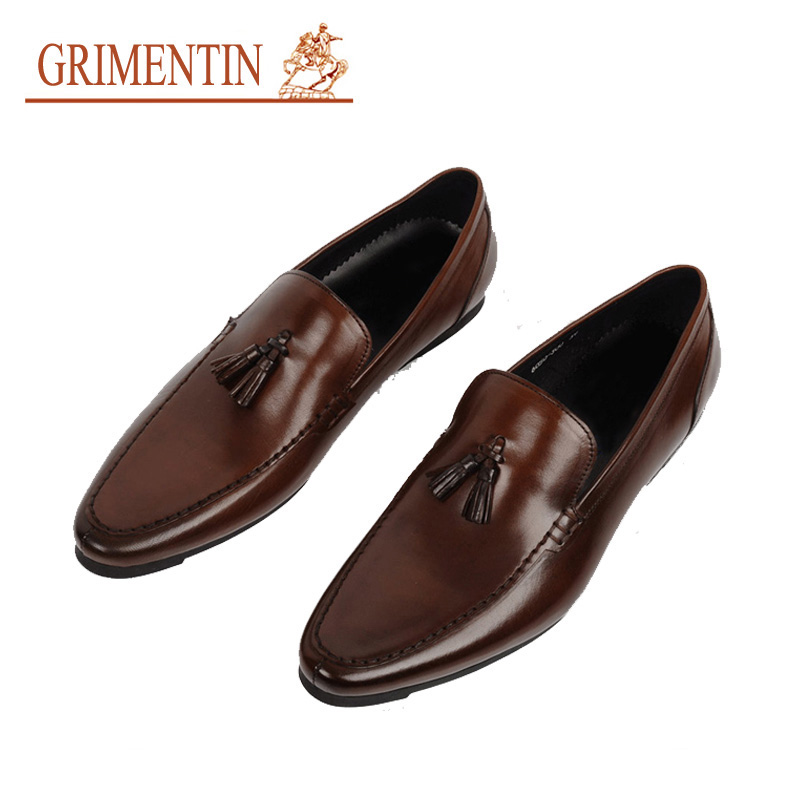 2016 men loafers handmade genuine leather slip-on tassels black brown italian designer casual driving flats size6.5-11 ox20(China (Mainland))