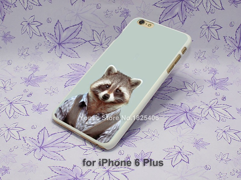 Yago Portal Zoo Portraits Common Raccoon Pattern hard White Skin Case Cover for iPhone 4 4s 4g 5 5s 5g 5c 6 6s 6 Plus