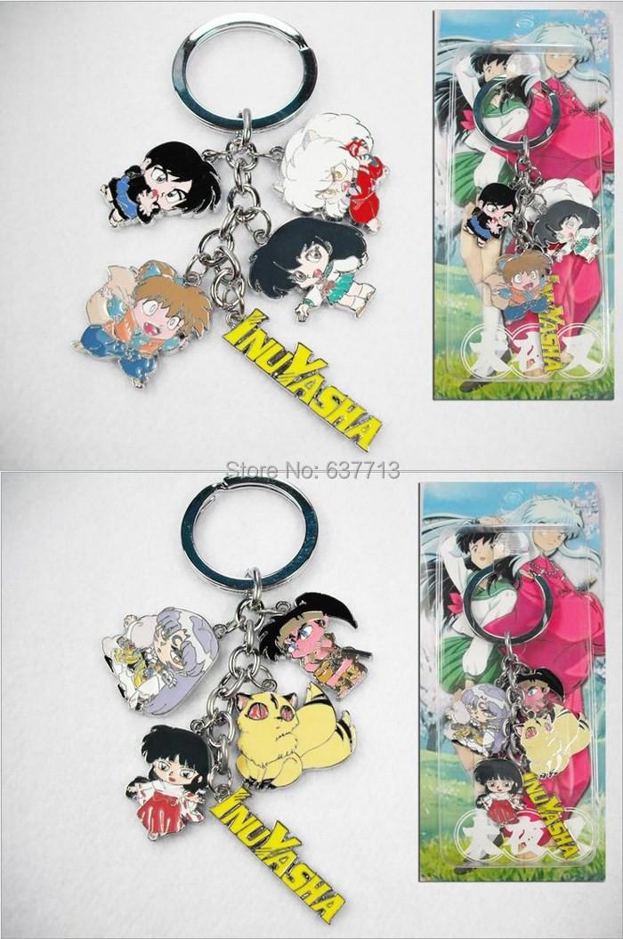 100pcs Anime Cartoon Inuyasha Keychains Metal Figures Pendants Key Chains 2Styles(China (Mainland))