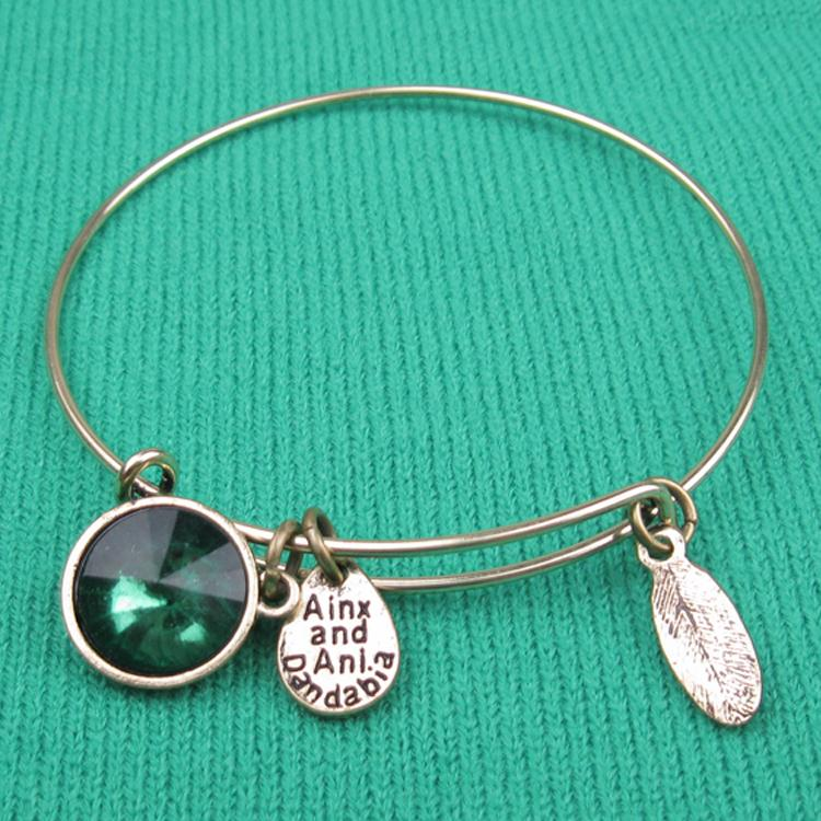 """America fashion style Green crystal bead """"hand made"""" Charm Bead Bangles Silver Plated Alloy Bracelets - Hi-Look store"""