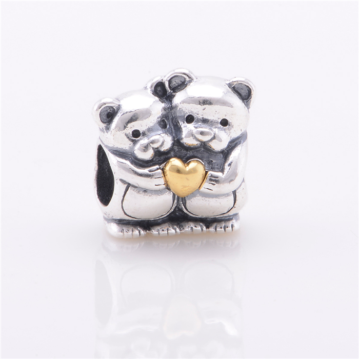 925 Sterling Silver jewelry beads 14k Solid Gold Bear Hug Charm Charms Fit European charm Bracelets Necklace Wholesale GO030(China (Mainland))