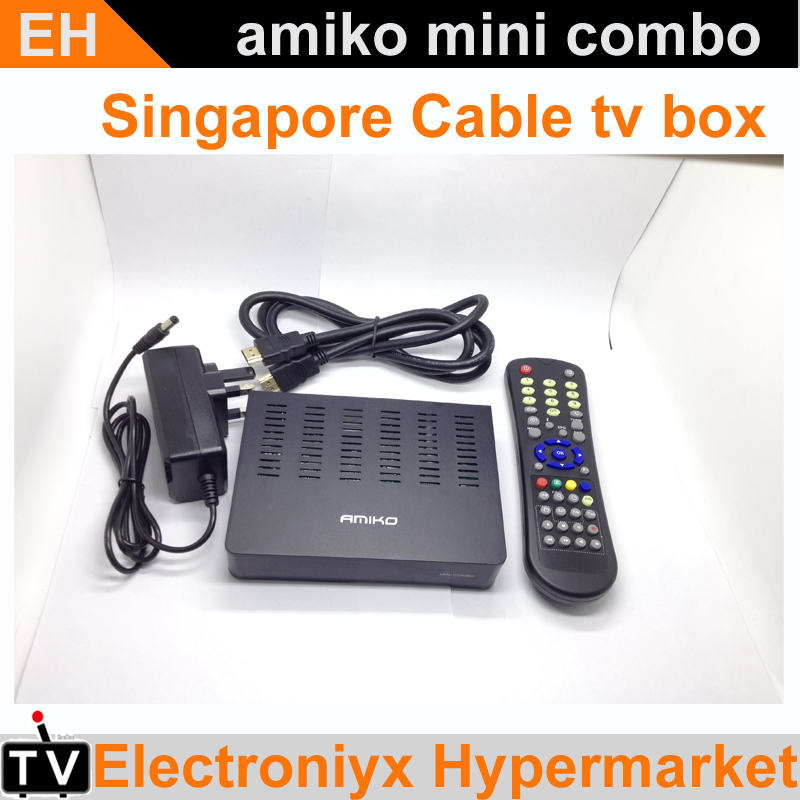 3PCS 2016 Singapore Starhub Cable TV Set Top Box Amiko mini combo dvb-c cable receiver with HD PVR WIFI watch mio for Singapore(China (Mainland))