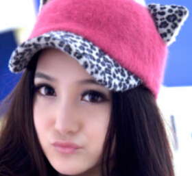 2014 new coming lady Promotion Leopard print creaturely trend Party Animals cap costume cat ears outdoor baseball Winter hat