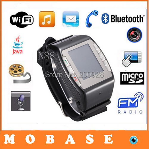 NEWEST Watch Phone WIFI GPRS Bluetooth support Wrist moblie phone GSM N88 1.4'' 2MP Camera/Java/MP4/Message Freeshipping(China (Mainland))