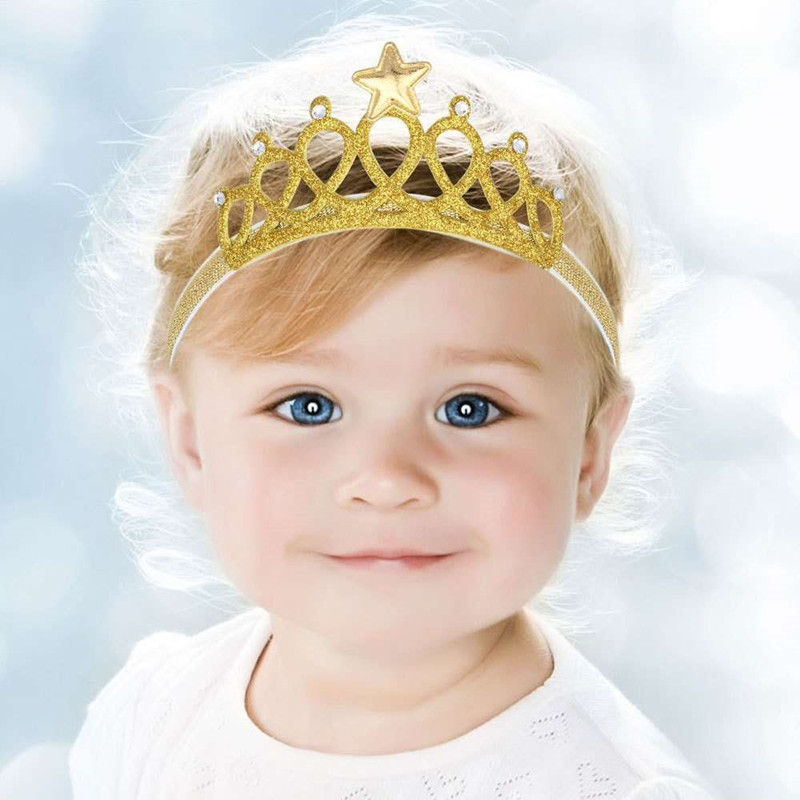 New 2016 Spring and Summer Children Girls Hair Accessories Baby Hair Band Gold and silver Baby Crown Headband(China (Mainland))