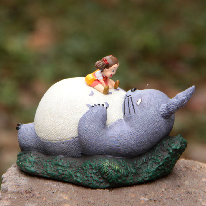 Hot Japanese Anime  My Neighbor TOTORO Cute Resin  Mei Laying On Totoro Scene Classical Model Kid Git Toy <br><br>Aliexpress