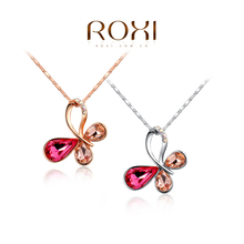 ROXI 2014 New Fashion Jewelry Rose Gold Plated Statement Colorful Butterfly crystal Necklace pendand Free Shipping