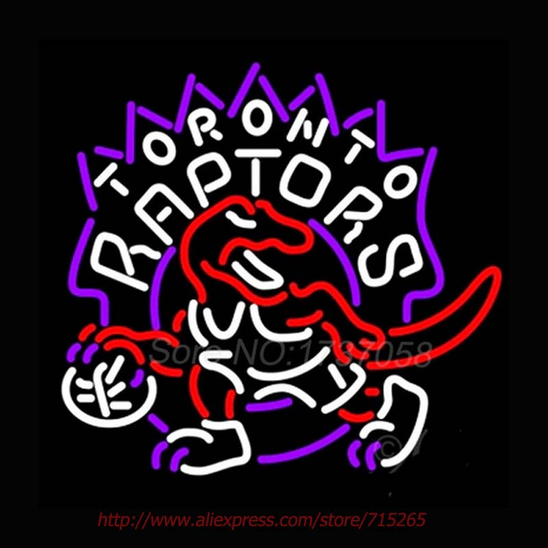 Toronto Raptors NEON SIGN Dinosaur Neon Bulbs Beer Pub Handcrafted Charlotte Hornetss Real Glass Tube Recreation Shop VD 24x24(China (Mainland))