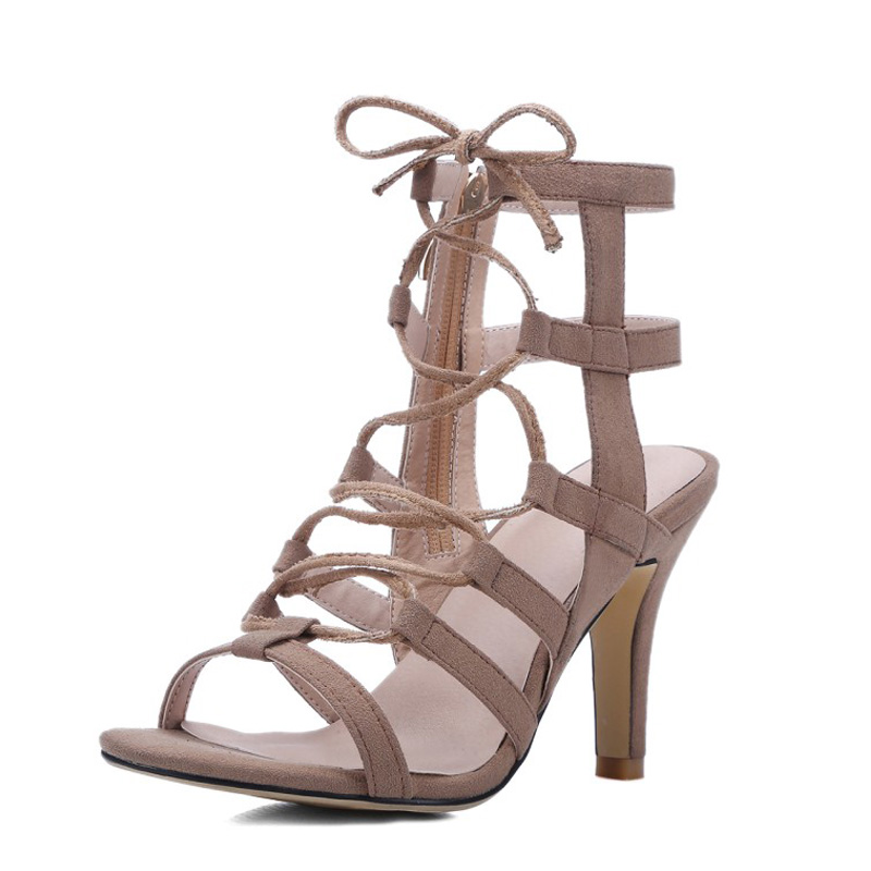 Фотография 2016 brand shoes woman Thin High Heels Open Toe Women Pumps Shoes sheepskin  leather Sexy Gladiator sandals Shoes zapatos mujer