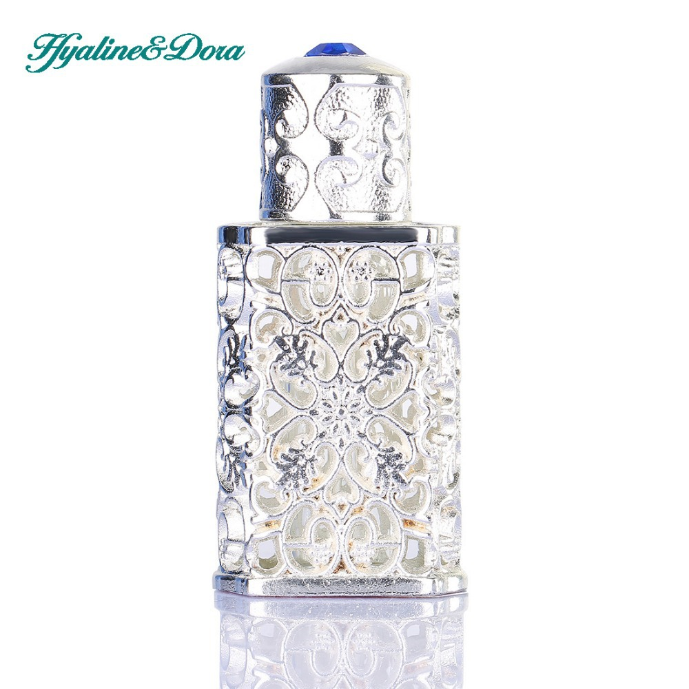Silver Women Perfume Bottle Antiqued Style Retro Hollow Flower Inlaid With Blue glass Empty Perfume Container Wedding decoration(China (Mainland))