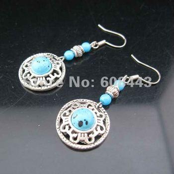 ER049 imitation Gemstone Tibetan Silver retro vintage exotic High fashion drop pendant earring Women/Girl's Jewelry