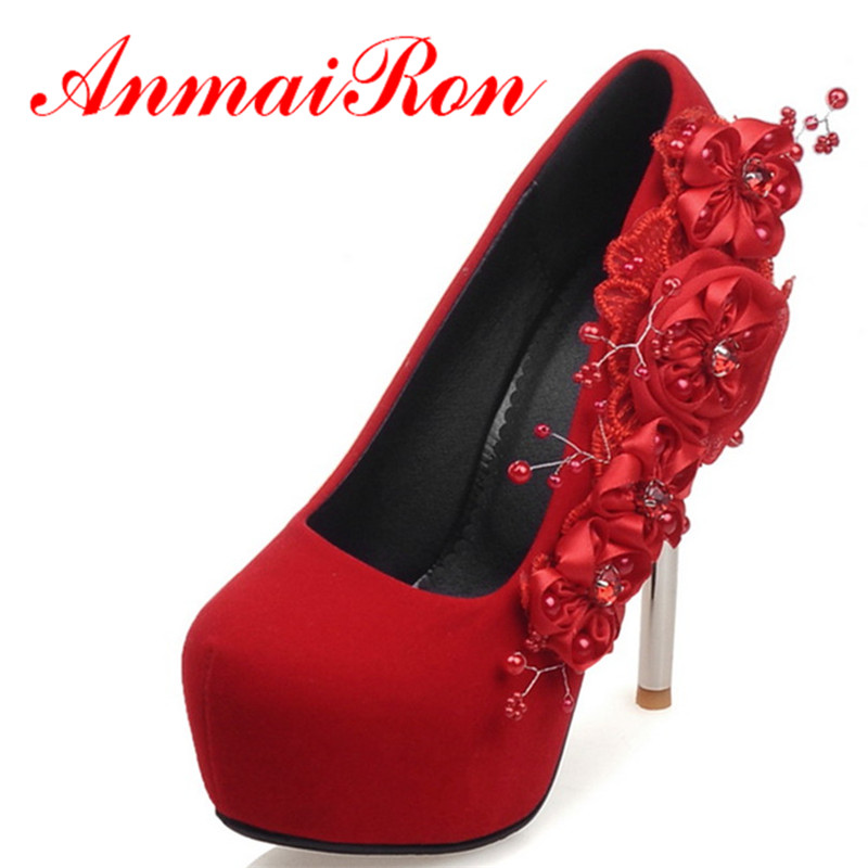 ANMAIRON Womens Wedding High Heels Sexy Red Soft Leather Pumps Spring and Autumn Fashion Shoes Woman Red Flower Charm Size 34-42<br><br>Aliexpress