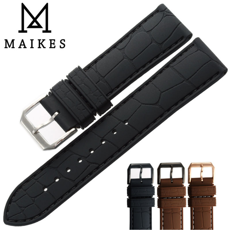 MAIKES New With Tags 3D Alligator Leather Grain Black Watchband 20mm 22mm Men Silicone Rubber Watch Band Strap(China (Mainland))