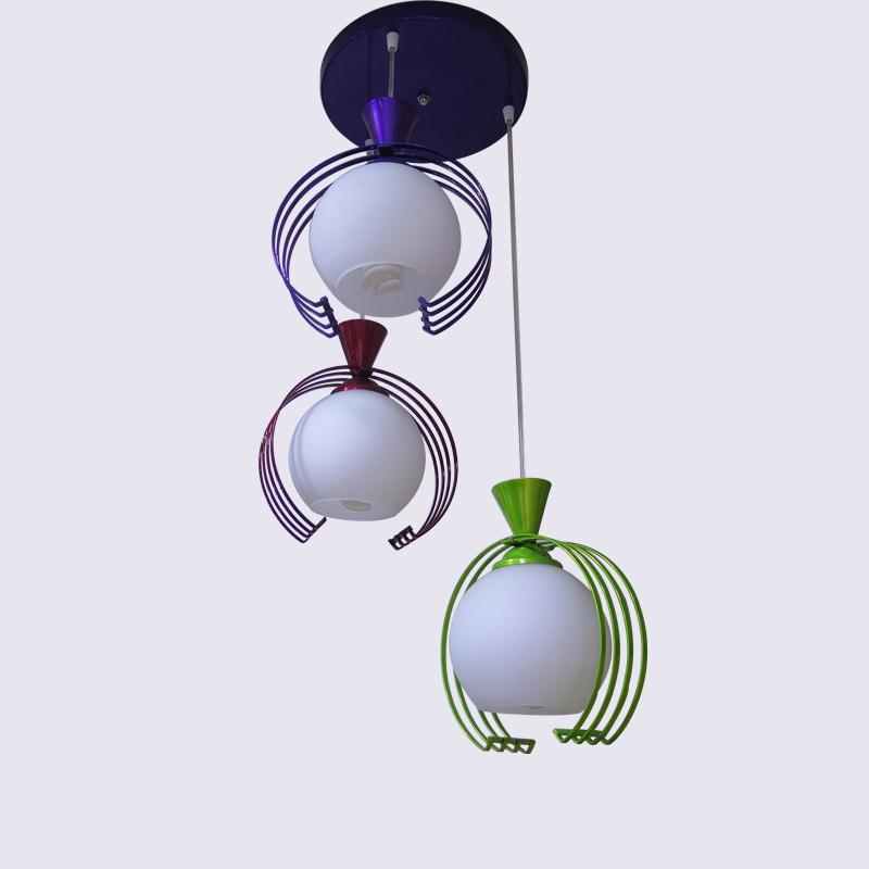 Pastoral sweet warm iron lamps hanging wire Chandelier fitting purple green home creative personality 3 lamp<br>