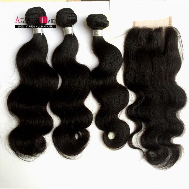 6A Unprocessed Brazilian virgin remy hair with closure body wave human hair and Closure Brazilian Body Wave with Lace Closure<br><br>Aliexpress