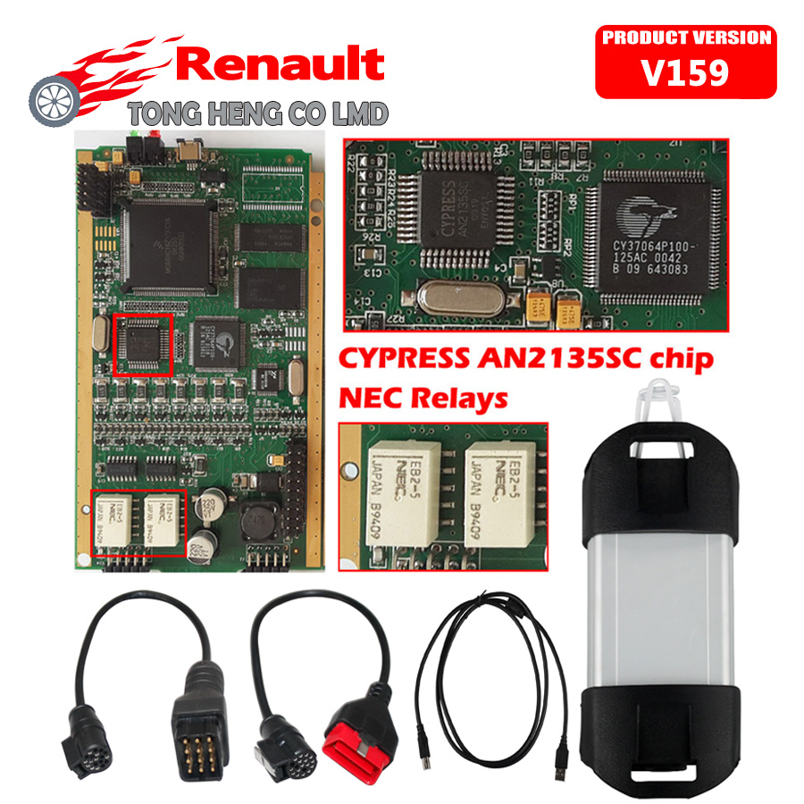 In Stock!!! A++ Quality for Renault Can Clip V159 Diagnostic Tool with CYPRESS AN2135SC or AN2136SC Chip Free Shipping(China (Mainland))