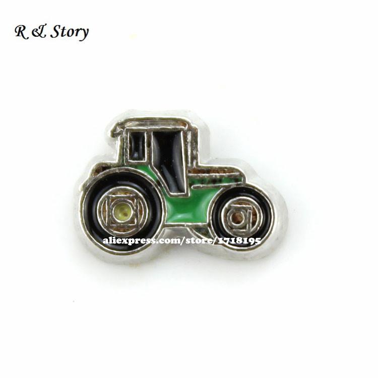 Green & Yellow Farmer Farm Tractor Floating Charm For Glass Memory Lockets LFC_977(China (Mainland))