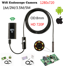 Buy Mini Android IOS Iphone Ipad Endoscope Inspection Camera Ip67 Waterproof Endoscope Camera Android 1m 8mm 6 Led PC Wifi Endoscope for $17.84 in AliExpress store