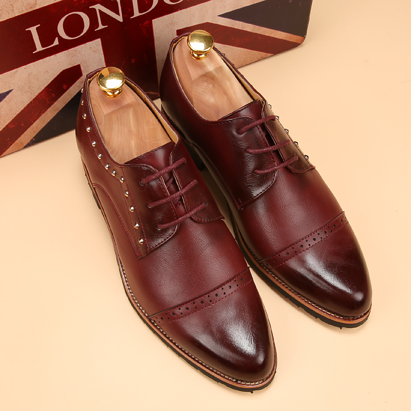 Tidog-Korean mens dress business increased pointed shoes carved Bullock leather shoes<br><br>Aliexpress