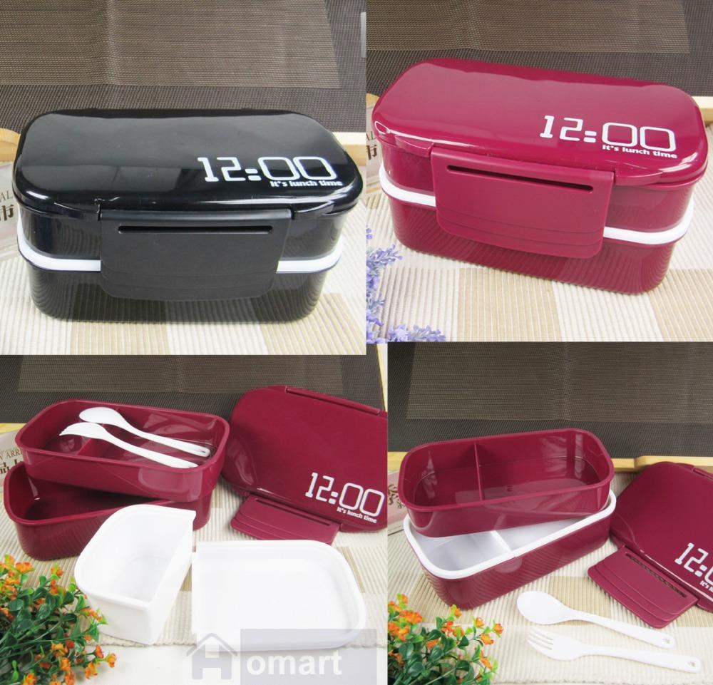 buy 3 colors 12 00 2 tier japanese plastic food storage box container bento l. Black Bedroom Furniture Sets. Home Design Ideas