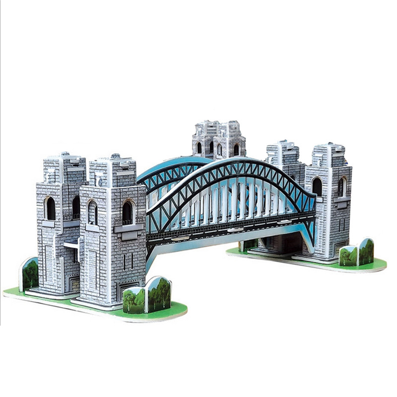 Brand New Fashionable Design Colourful Carboard Jigsaw Model 3D Puzzle Sydney Harbour Bridge 39pcs DIY Toy Good Gift(China (Mainland))