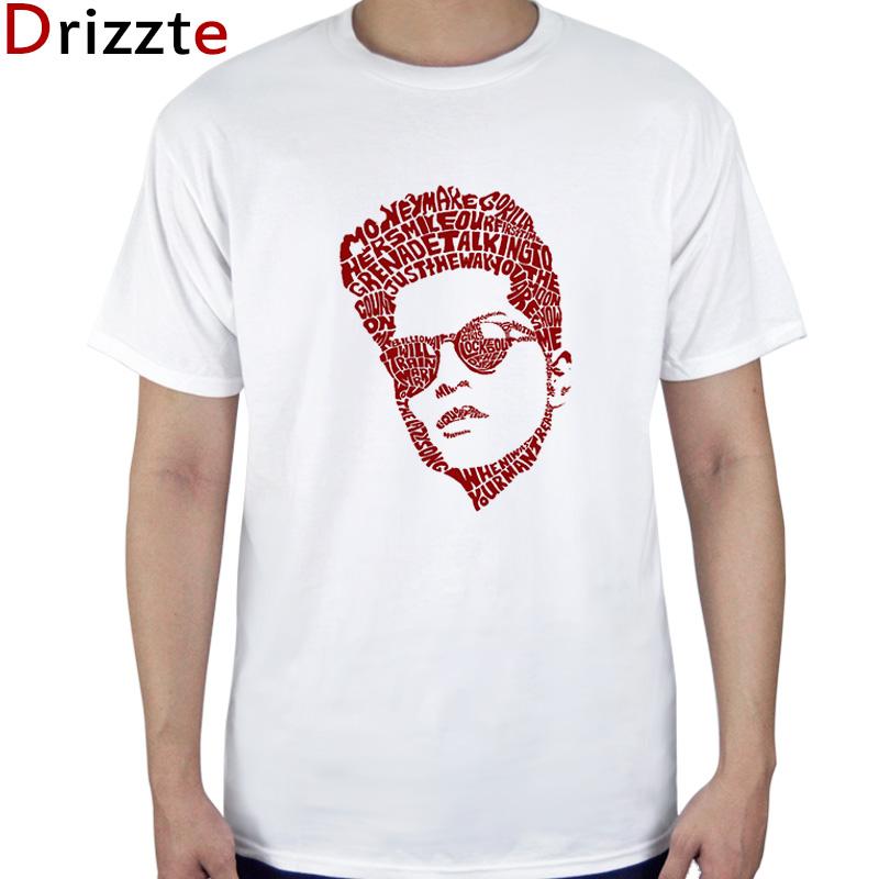 Drizzte Heren Mode t-shirt Bruno Mars Katoen Wit t-stuk Kleding Maat Sml XL 2XL 3XL
