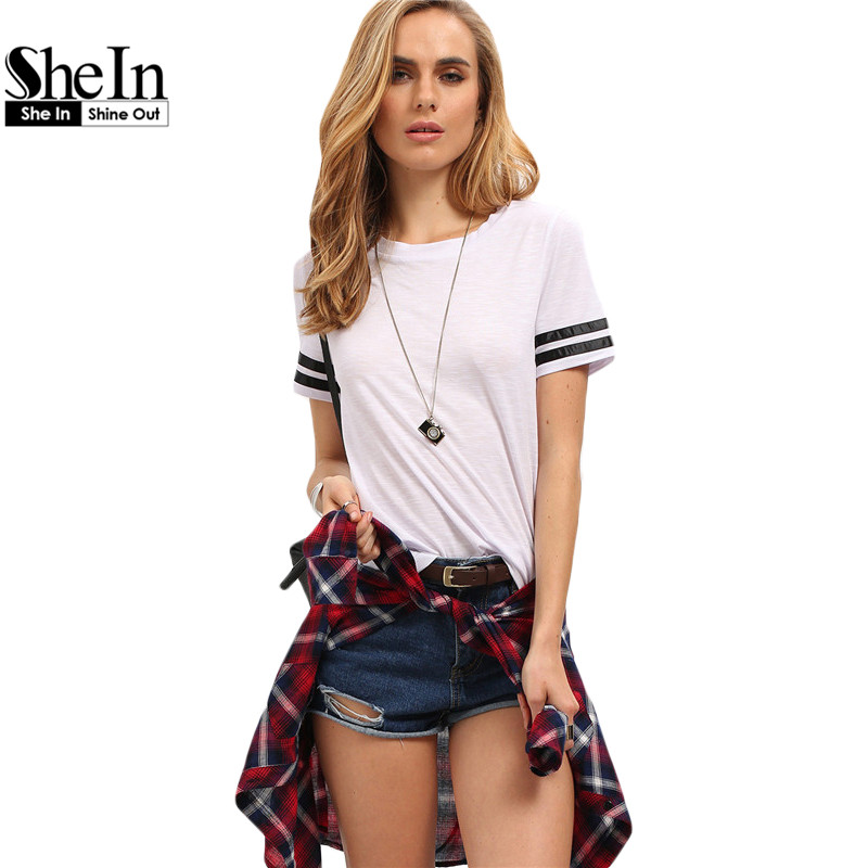 SheIn Womens Round Neck Casual White Tees Fashion Women Tops 2016 Summer New Arrival Ladies Black Striped Sleeve T-shirt(China (Mainland))