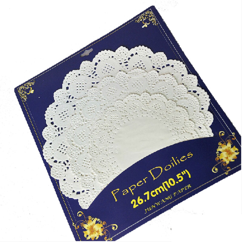 36pcs/pack Mixed 6.5 8.5 10.5 inch white Round Lace Flower Paper Doilies Placemat Crafts for Wedding Party Decoration Supplies(China (Mainland))