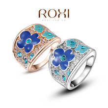 ROXI Christmas Gift Classic Genuine Austrian Crystals Sample Sales Rose Gold  Plated  Wintersweet Ring Jewelry Party OFF