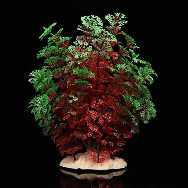 Beutiful Red Green Artificial Plastic Water Plant for Home Fish Tank Aquarium Decoration 20cm High(China (Mainland))