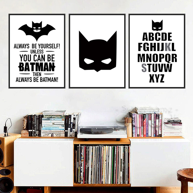 Batman Quote Canvas Art Print Poster A4 Wall Pictures For Home Decoration No Frame Painting For Kids Room Home Decor(China (Mainland))