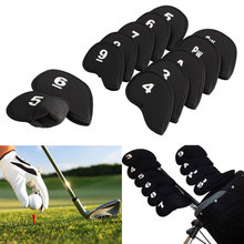 Hot Sale 10Pcs Golf Club Iron Putter Head Cover HeadCovers Protect Set Neoprene Black Free Shipping(China (Mainland))