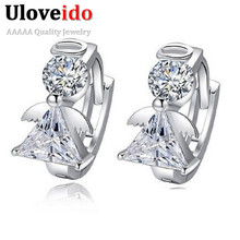 Angle Stud Earring Women Earings Fashion 925 Sterling Silver Crystal Earrings 2015 New Nickel Free Wholesale Jewelry Ulove DML51(China (Mainland))