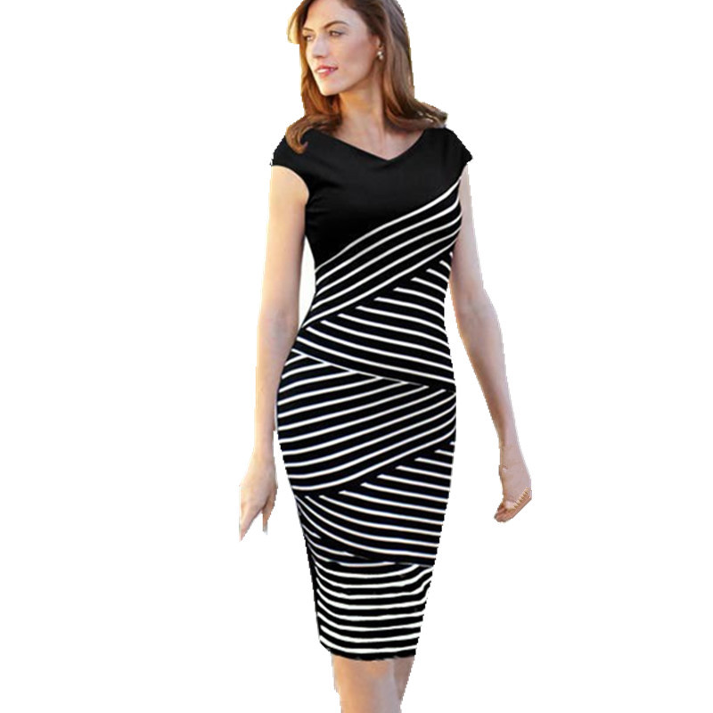 Vintage Style Women Summer Dress 2015 Sexy Hip Stripe ...