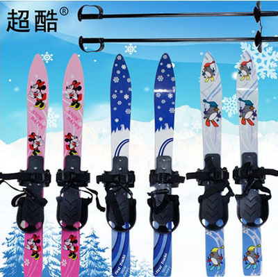 Free Style Type Snowboard Double Boards Skate Skiing Board 65cm Children Ski Board With Two Ski Poles(China (Mainland))