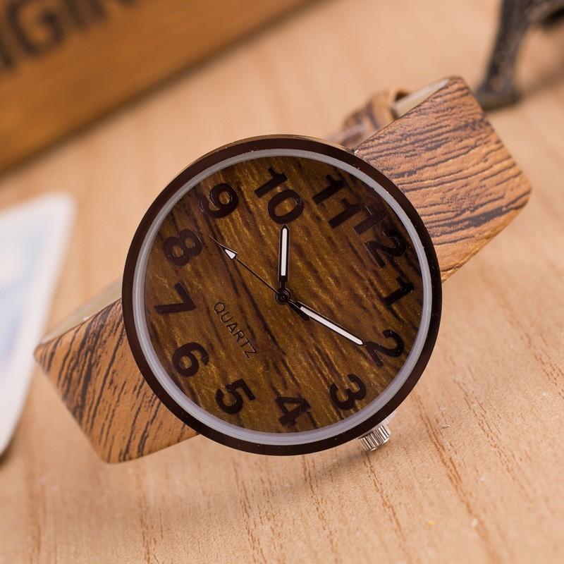 2015 Fashion simple style Wood grain leather quartz watch women dress wristwatches men casual watch relogios