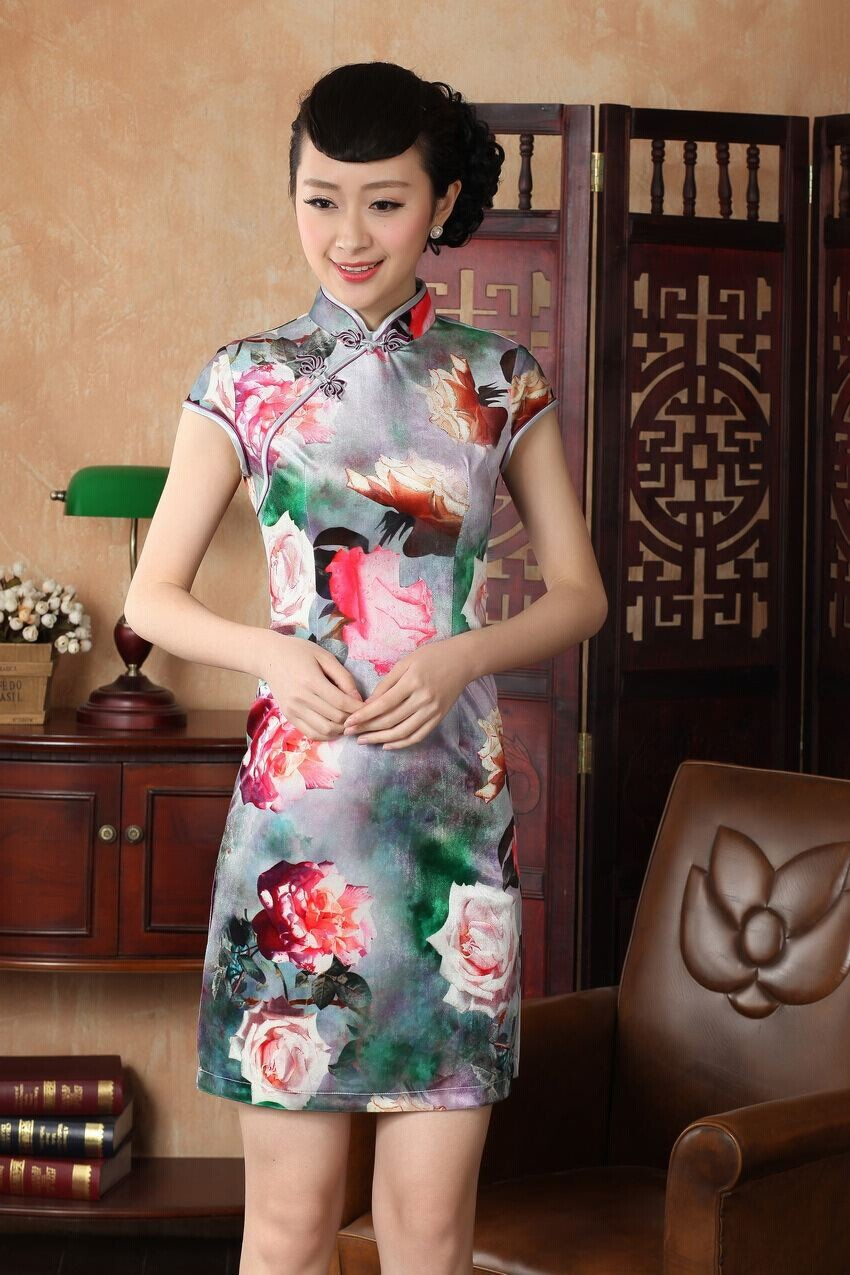 Free Shipping Chinese Vintage Female Silk Velour Qipao Top Sexy Printed Cheongsam Evening Dress Floral Size S M L XL XXL WC020Одежда и ак�е��уары<br><br><br>Aliexpress