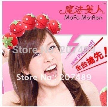 NEW Useful Popular Magical strawberry Balls Soft Sponge Hair Curler Hair Care Styling Roll Ball Roller Curler  Wholesale whcn