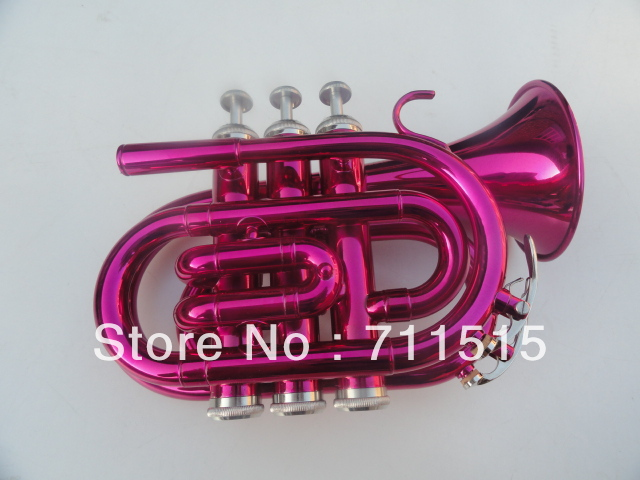 Rose Red Pocket Trumpet Bb Trompete Major Falling Bb boquilla para Trompeta Pink Angle Surface tuba(China (Mainland))