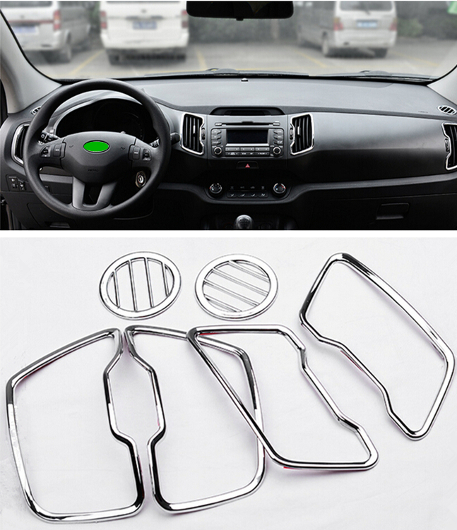 6pcs car interior air conditioning vent decorative cover trim air outlet chrome abs car styling. Black Bedroom Furniture Sets. Home Design Ideas