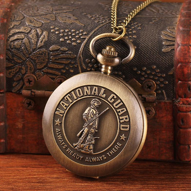 New arrival free shipping wholesale carved National Guard with 78cm long chain vintage pendant watch quartz men bronze necklace(China (Mainland))