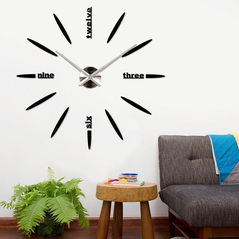 Hot 2016 large 3d diy wall clock home decor living room for Diy clock