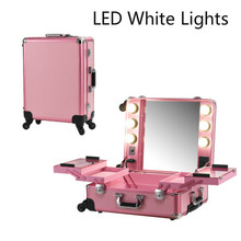 Pink LED White Light Makeup Case Lights Professional Rolling Cosmetic Box Station Large Portable Bag for Cosmetics with bulbs(China (Mainland))