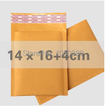 50pcs 14*16+4cm Kraft bubble Courier mailing bags Airkraft padded mailing envelopes self-seal bubble bags packing list envelopes(China (Mainland))