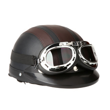 Motorcycle Scooter Open Face Half Leather Helmet with Visor UV Goggles Retro Vintage Style 54-60cm for Security Accessories(China (Mainland))
