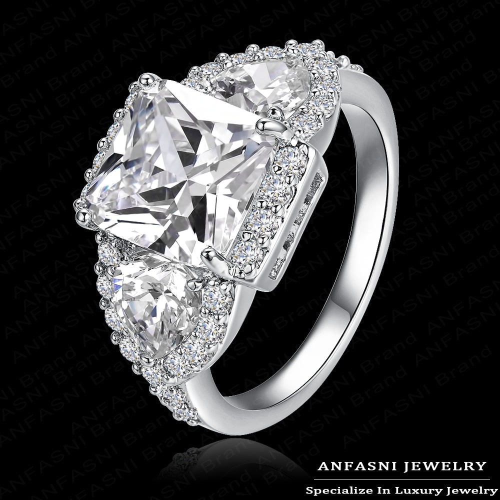 Big Cubic Zirconia Unisex Ring Real 18K Gold/ Platinum Plated Micro Pave AAA Cubic Zirconia Geometry Shaped Ring CRI0005(China (Mainland))