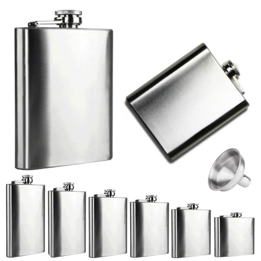 2016 Hot Sale Flask Trustworthy 1pc 10 8 7 6 5 4 oz Stainless Steel Hip Flask Liquor Whisky Alcohol Cap Funnel Drinkware Bottle(China (Mainland))