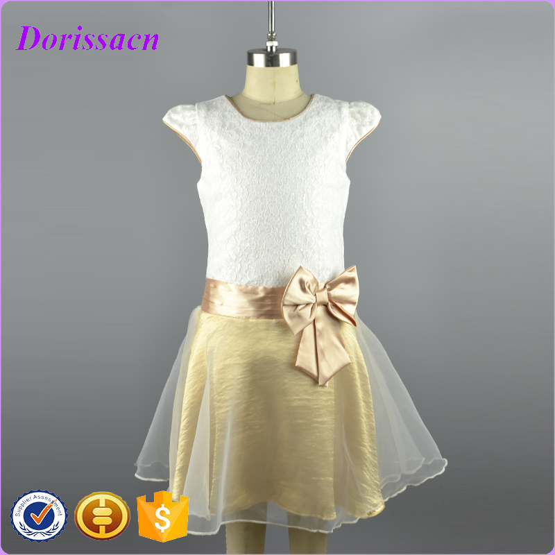 2016 New girls summer soft satin birthday party dress gold cap sleeve litte teenage formal pageant dresses with bow for children<br><br>Aliexpress