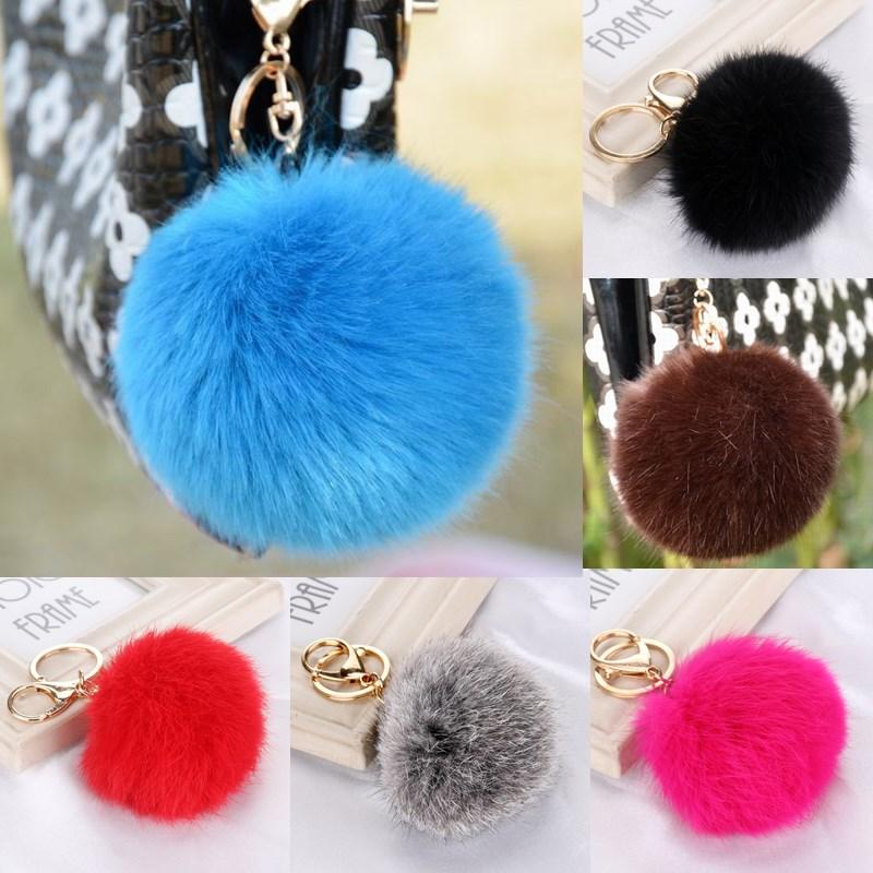 Sale 2016 8CM Faux Rabbit Fur Keychain Ball PomPom Cell Phone Car Keychain Pendant Handbag Gold Metal Buckle Charm Key Ring Gift(China (Mainland))